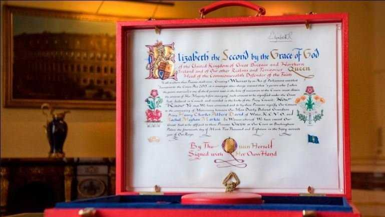 Buckingham Palace released an image of Queen Elizabeth II's notice of consent to the marriage of Prince Harry and Meghan Markle.