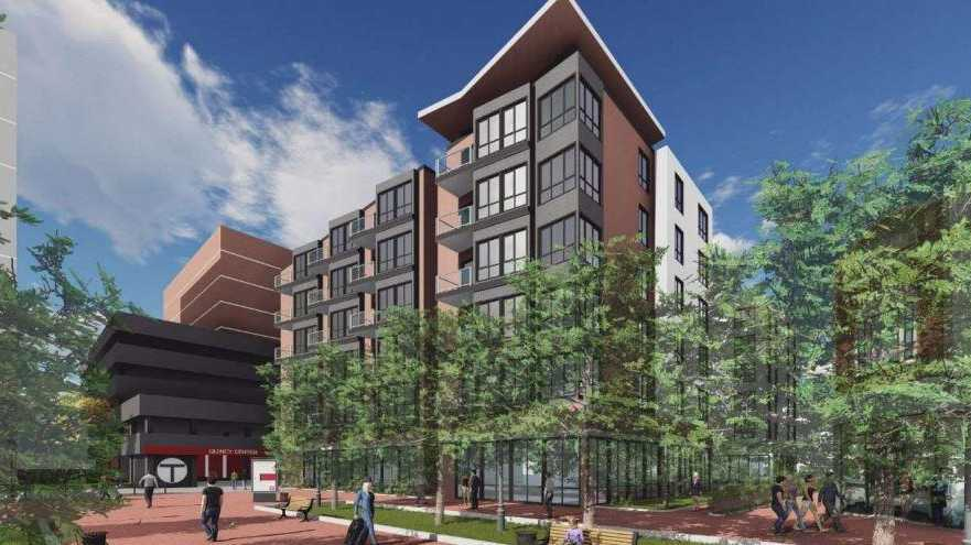 Rendering of apartments proposed for Quincy Center T station area