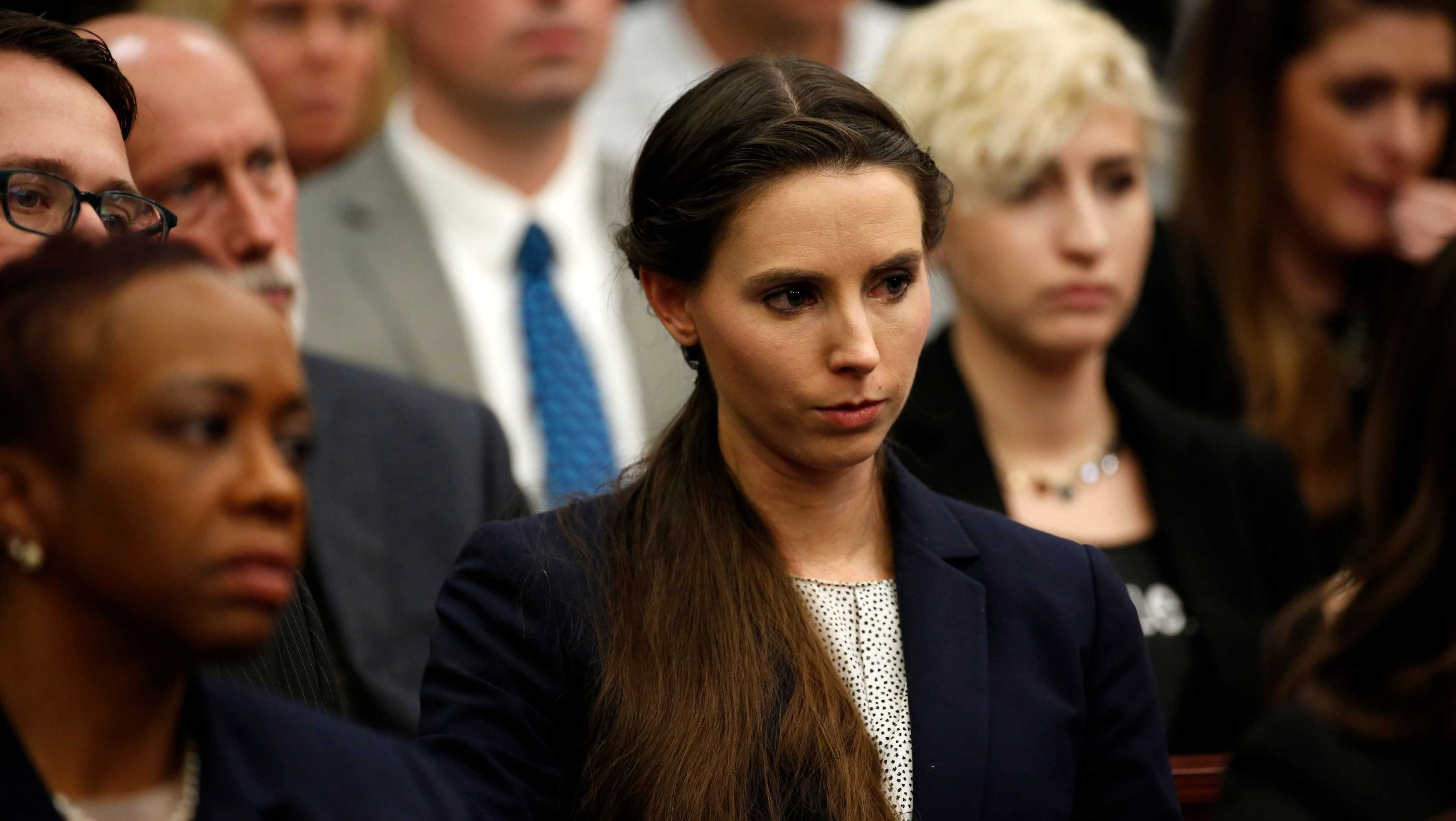 Rachael Denhollander listens during Larry Nassar's sentencing phase in Ingham County Circuit Court on January 24, 2018 in Lansing, Michigan.