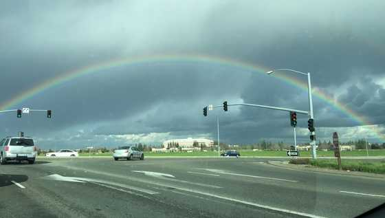A rainbow was spotted over Sleep Train Arena in Natomas on Monday, Jan. 23, 2017.