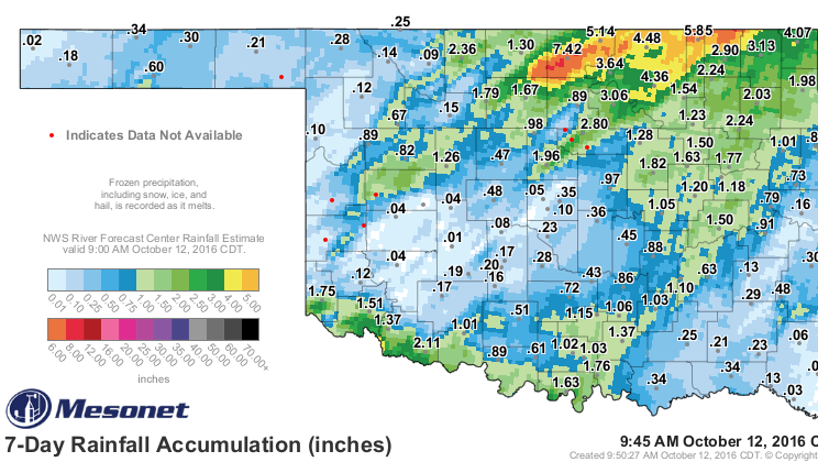 7-Day rainfall across Oklahoma.