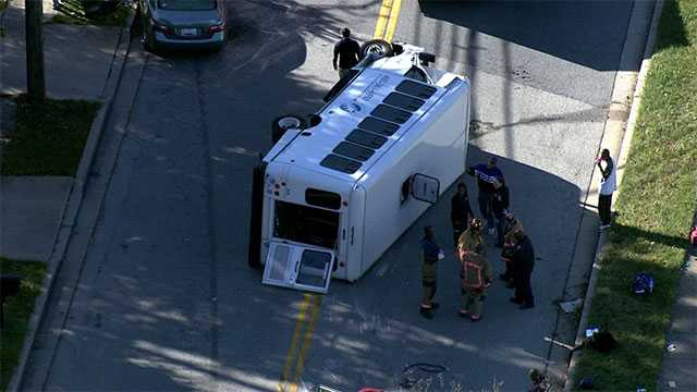 A bus overturned Tuesday morning in Randallstown.