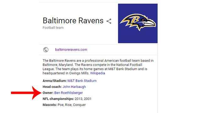 Wikipedia shows Ben Roethlisberger as Ravens owner