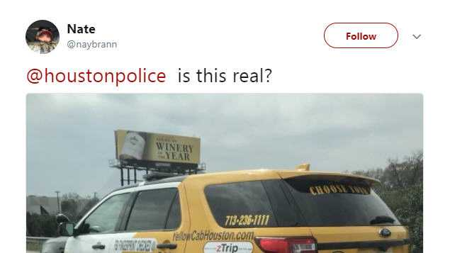 "<p>A photo of a Houston Police Department vehicle painted as both a cop car and a taxi shook social media this week. It is actually used by the police for their <a href=""https://twitter.com/houstonpolice/status/970715238155857920"" target=""_blank"">""Choose Your Ride"" campaign</a> to raise awareness about drunk driving.</p><p>Source: <a href=""https://twitter.com/naybrann/status/970688868298215424"" target=""_blank"">Twitter</a></p>"