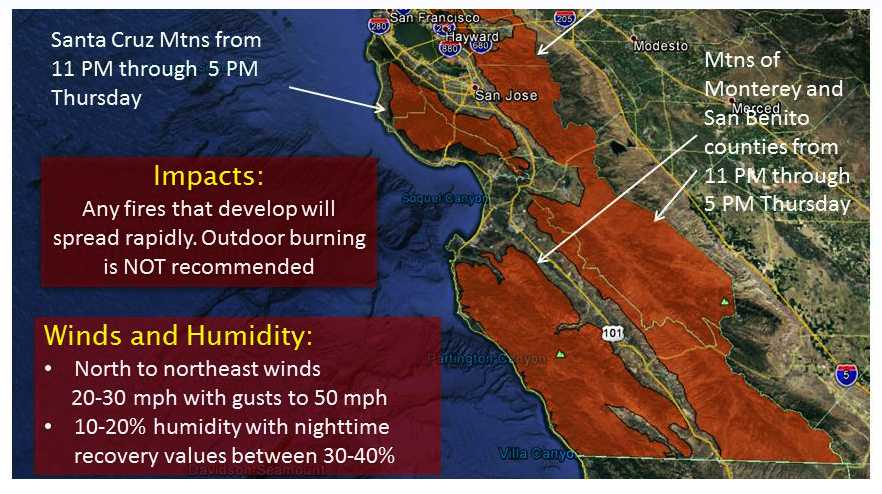 Red Flag Warning extended from Big Sur to Santa Cruz mountains