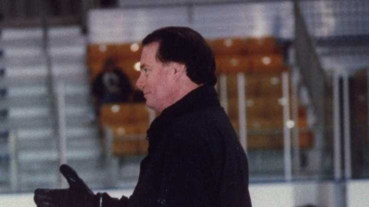 Figure skating coach Richard Callaghan at the US Figure Skating Championships at the CoreStates Center in Philadelphia, Pennsylvania, 1998.