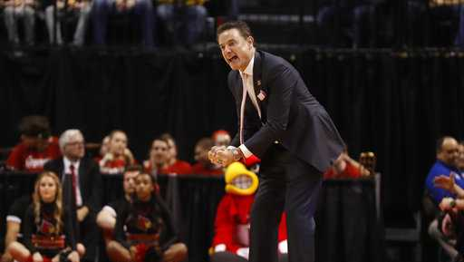 Louisville head coach Rick Pitino is seen on the court during the first half of a first-round game against Jacksonville State in the men's NCAA college basketball tournament Friday, March 17, 2017, in Indianapolis.