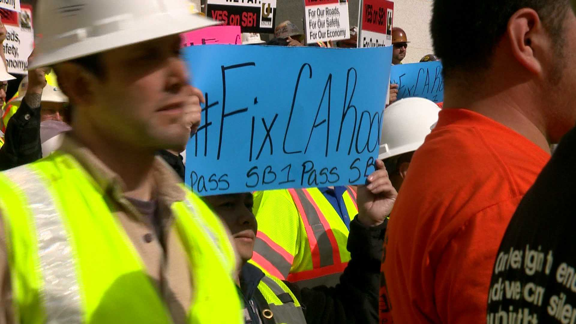 Lawmakers and construction workers rallied Wednesday, April 5, 2017, at the Capitol for support of Senate Bill 1, which would increase the gas tax and vehicle fees to fund road repairs.