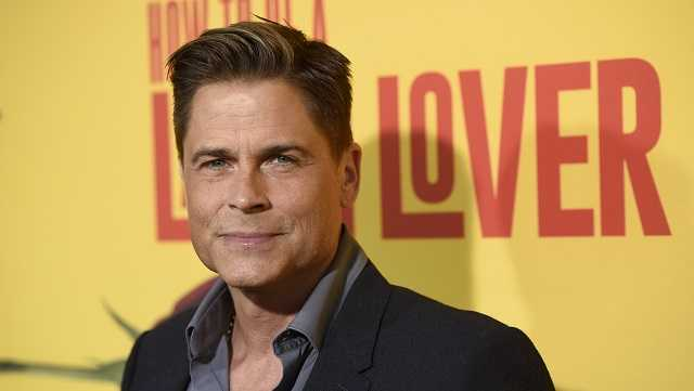 "In this April 26, 2017, file photo, Rob Lowe arrives at the Los Angeles premiere of ""How to Be a Latin Lover"" at the ArcLight Hollywood."