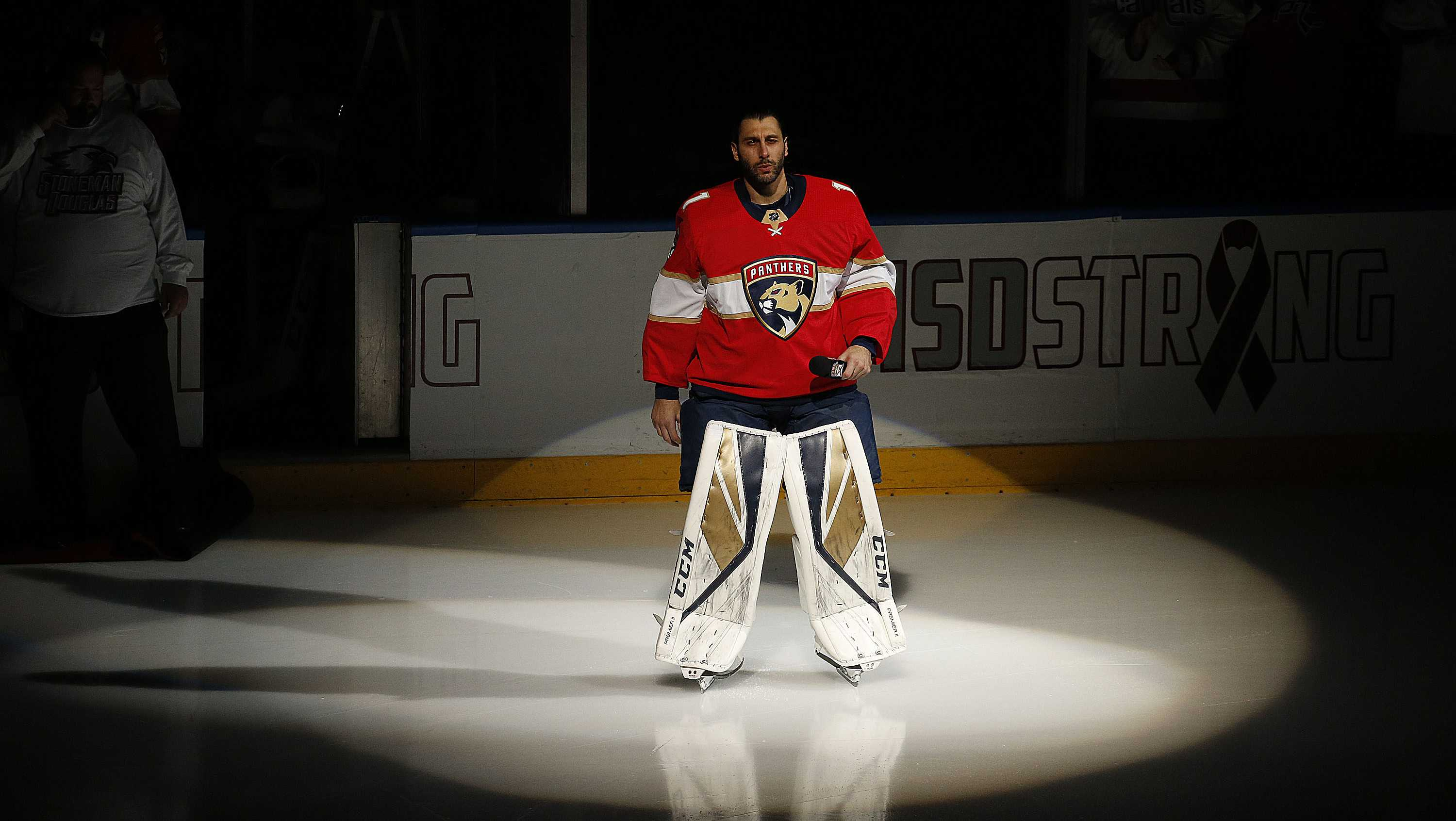 Goaltender Roberto Luongo #1 of the Florida Panthers who is a longtime resident of Parkland Florida speaks to the crowd prior to the start of the game against the Washington Capitals about the tragedy at Stoneman Douglas High School. at the BB&T Center on February 22, 2018 in Sunrise, Florida.