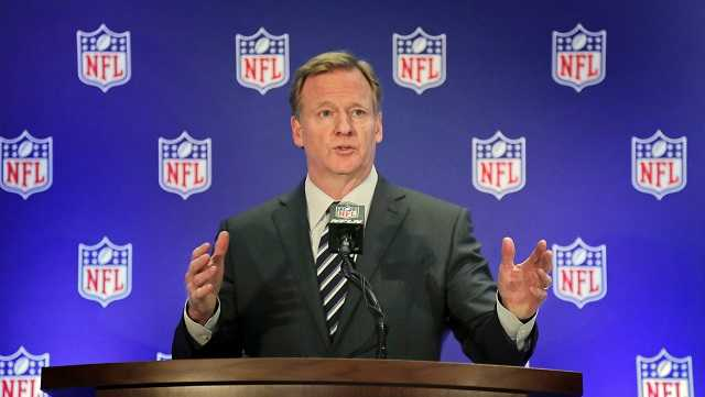 NFL commissioner Roger Goodell speaks during a news conference, Wednesday, Oct. 18, 2017, in New York.