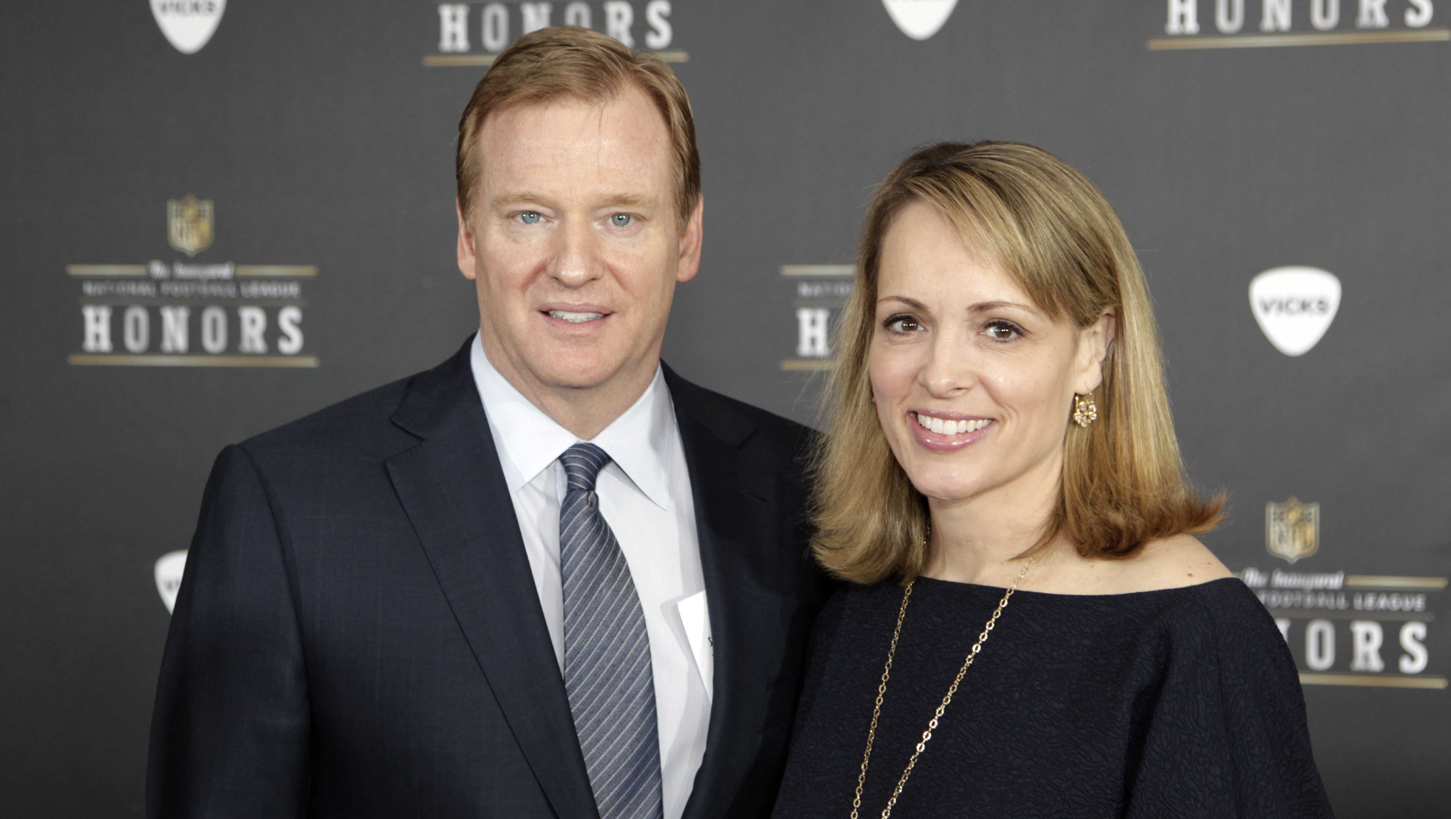NFL Commissioner Roger Goodell and is wife, Jane Skinner, arrives for the inaugural NFL Honors show Saturday, Feb. 4, 2012, in Indianapolis.