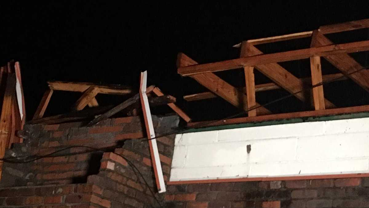Strong storms tear the roof off a building in Marion County, Ala.
