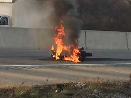 Motorcycle fire Route 30