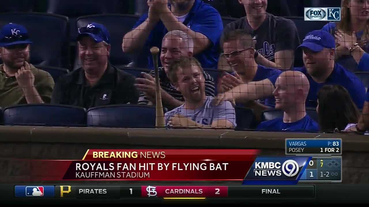 Royals fan hit by flying bat