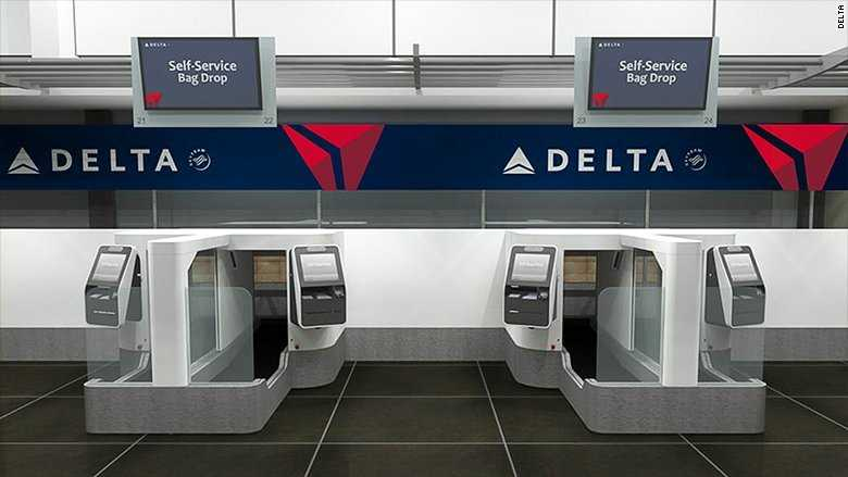 Delta is testing a face-scanning kiosk for baggage check. The machine allows passengers to bypass check-in agents. It uses facial recognition technology to match your identity to your passport photo.