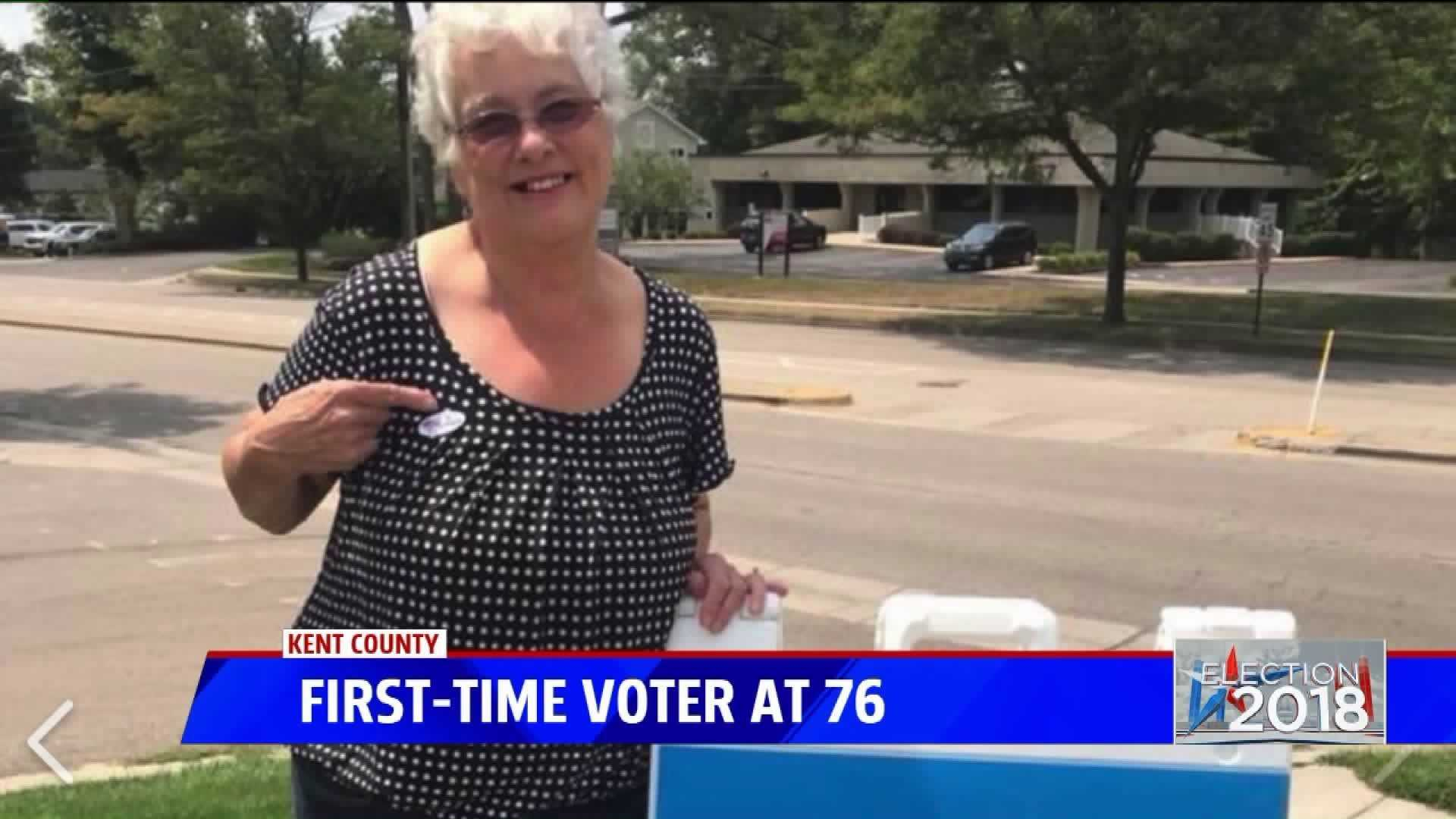 A West Michigan woman got to vote for the first time in the Michigan August primary election.