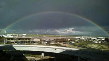 A rainbow was spotted over Sacramento International Airport on Monday, Jan. 23, 2017.