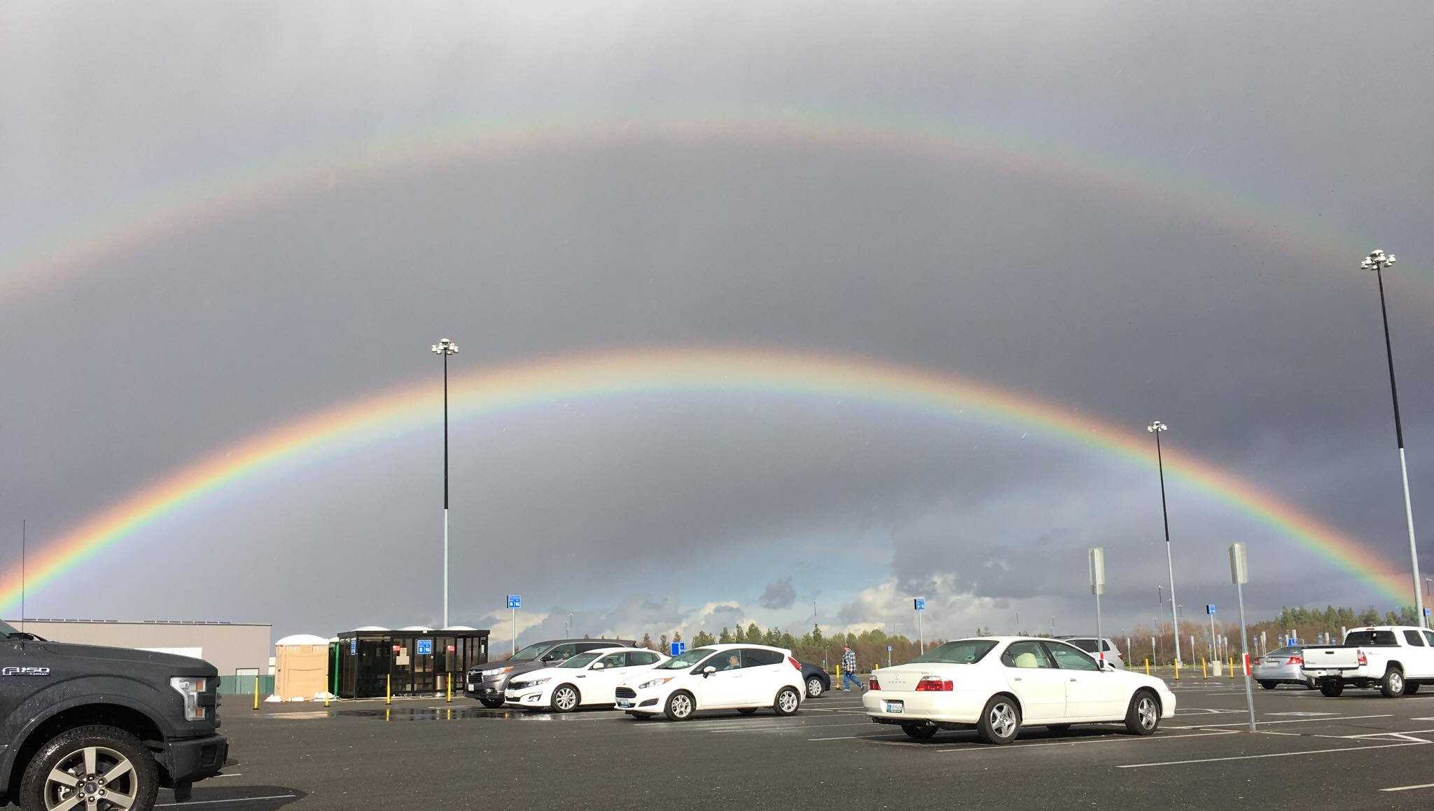 This double rainbow appeared over the Sacramento International Airport on Monday, Jan. 23, 2017.