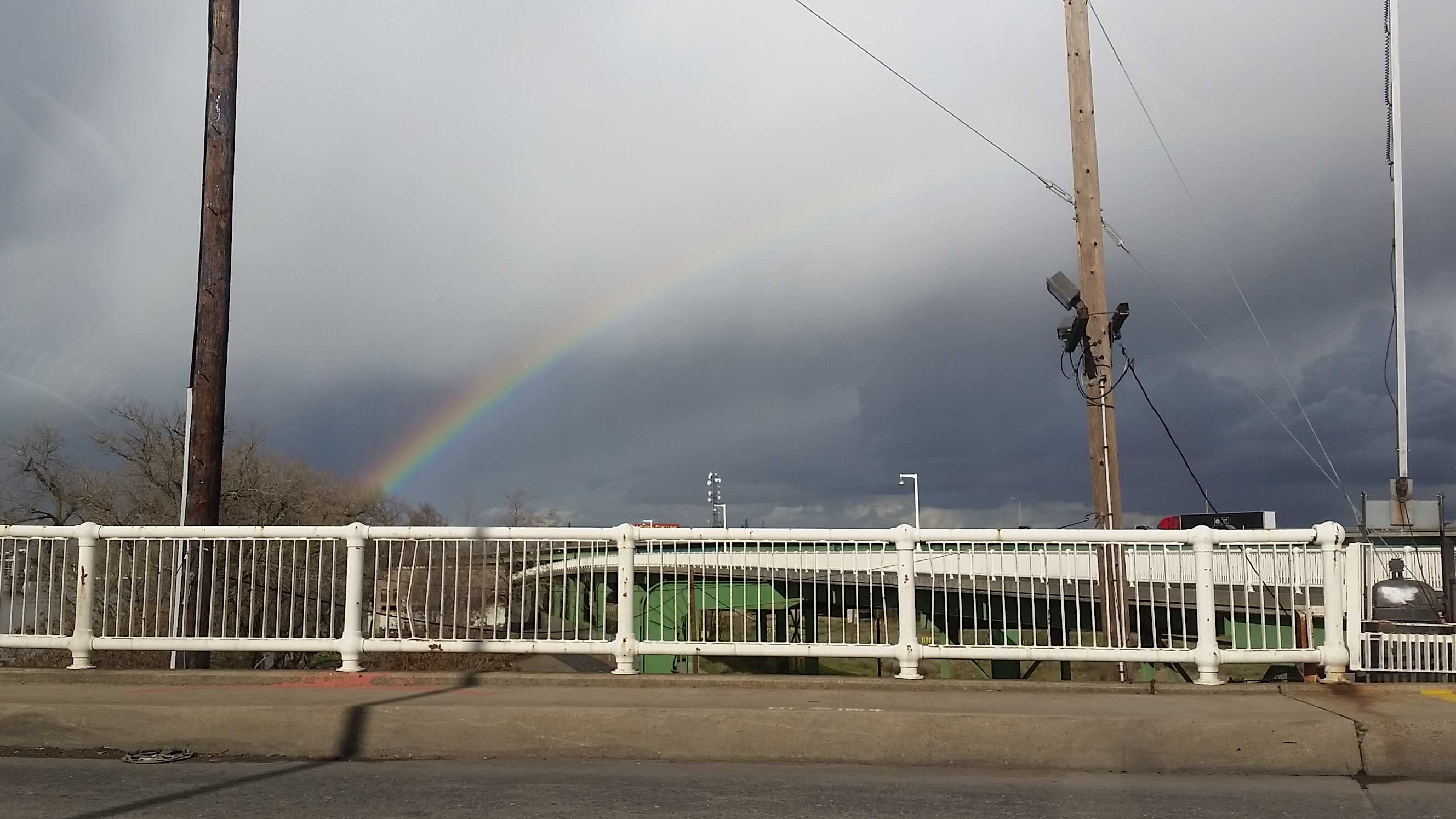 This rainbow was spotted over the I Street Bridge in Sacramento on Monday, Jan. 23, 2017.