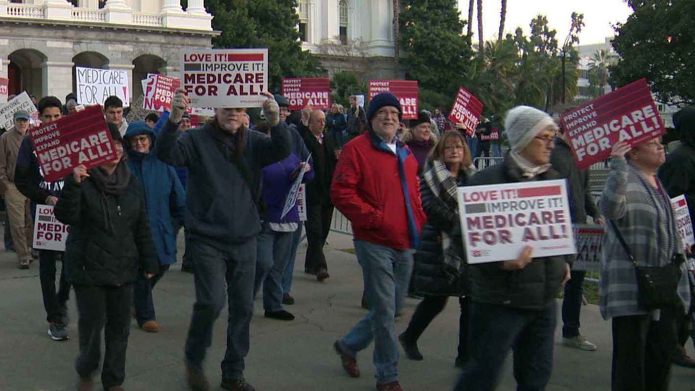 A crowd gathered outside of the California Capitol in Sacramento on Sunday, Jan. 15, 2017, to protest the repeal of the Affordable Healthcare Act.