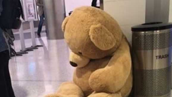 A teddy bear abandoned at LAX after it couldn't clear a security checkpoint.