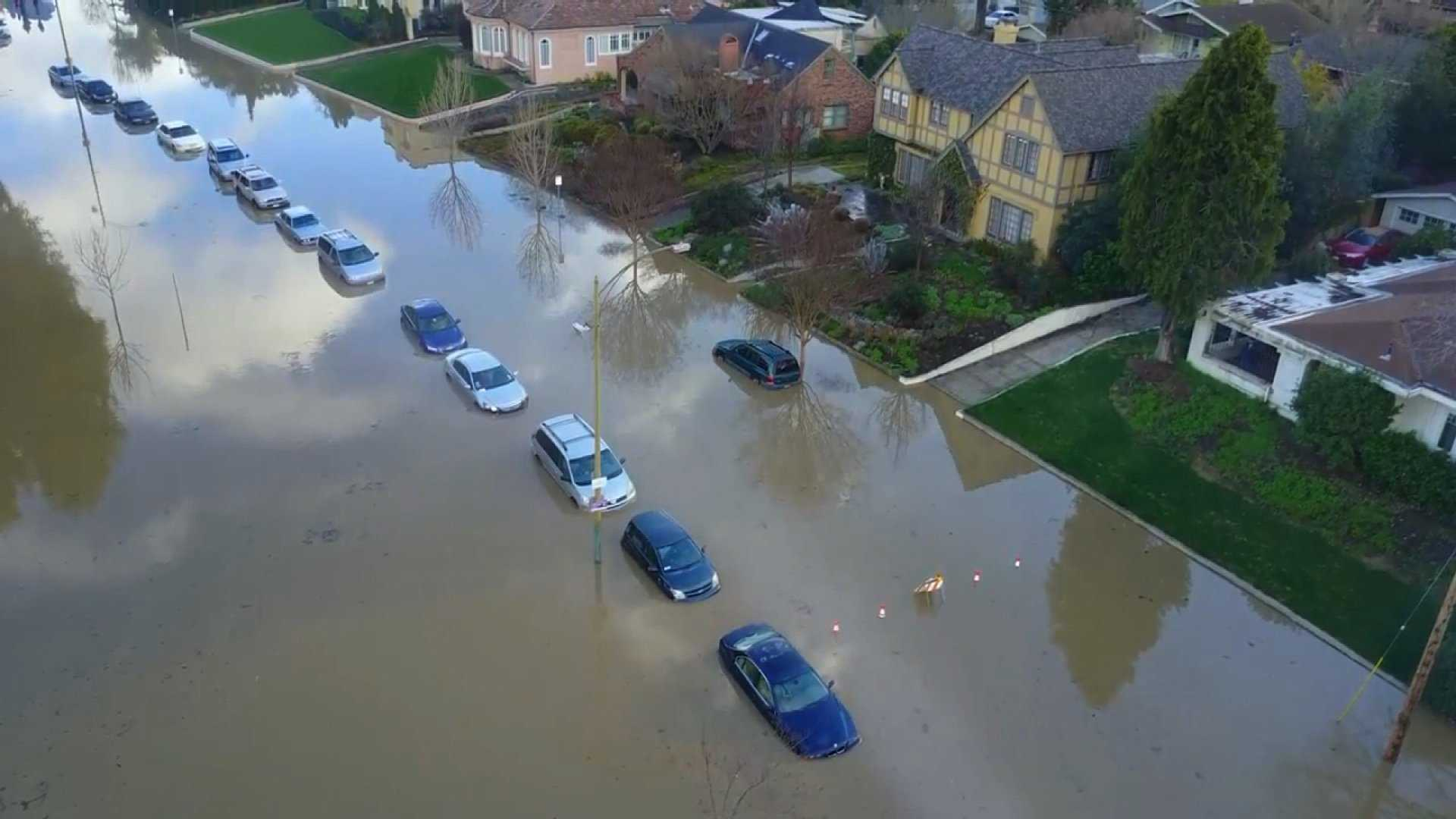 Flood waters cover streets, cars and some homes in San Jose, California, in this photo taken on Feb. 22, 2017