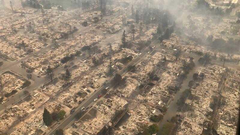 Santa Rosa neighborhood damaged by Tubbs Fire in October 2017.