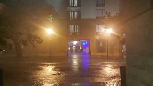 Tropical Storm Hermine brings rain to Bay Street in Savannah early Friday morning.