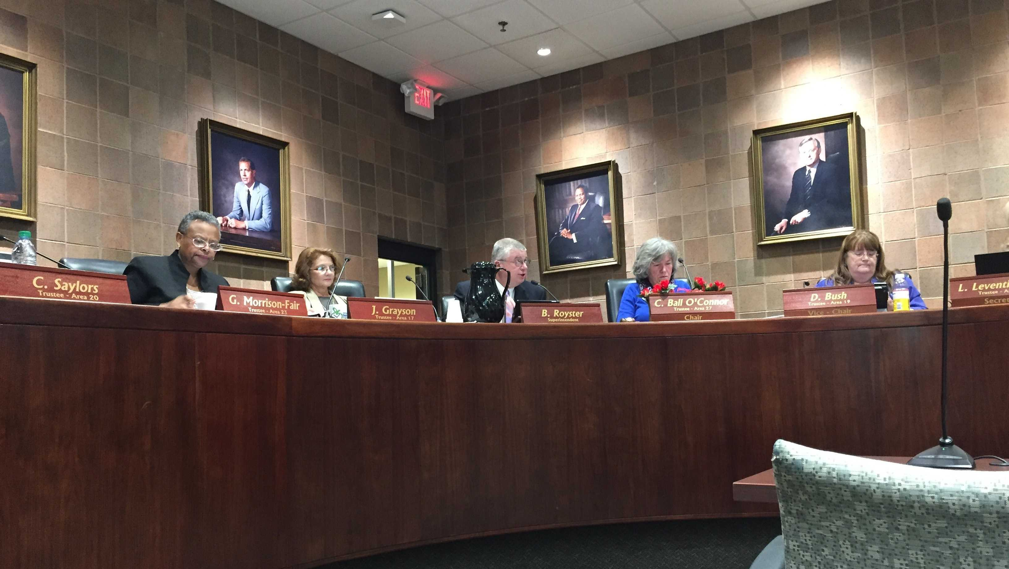 School board discusses expectations for standardized test scores.