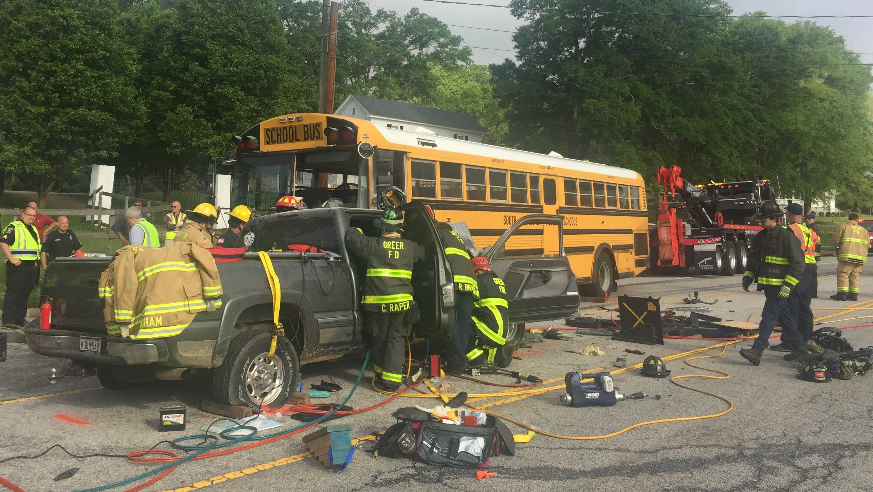School bus fire crash