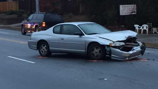 Car involved with crash with school bus ​