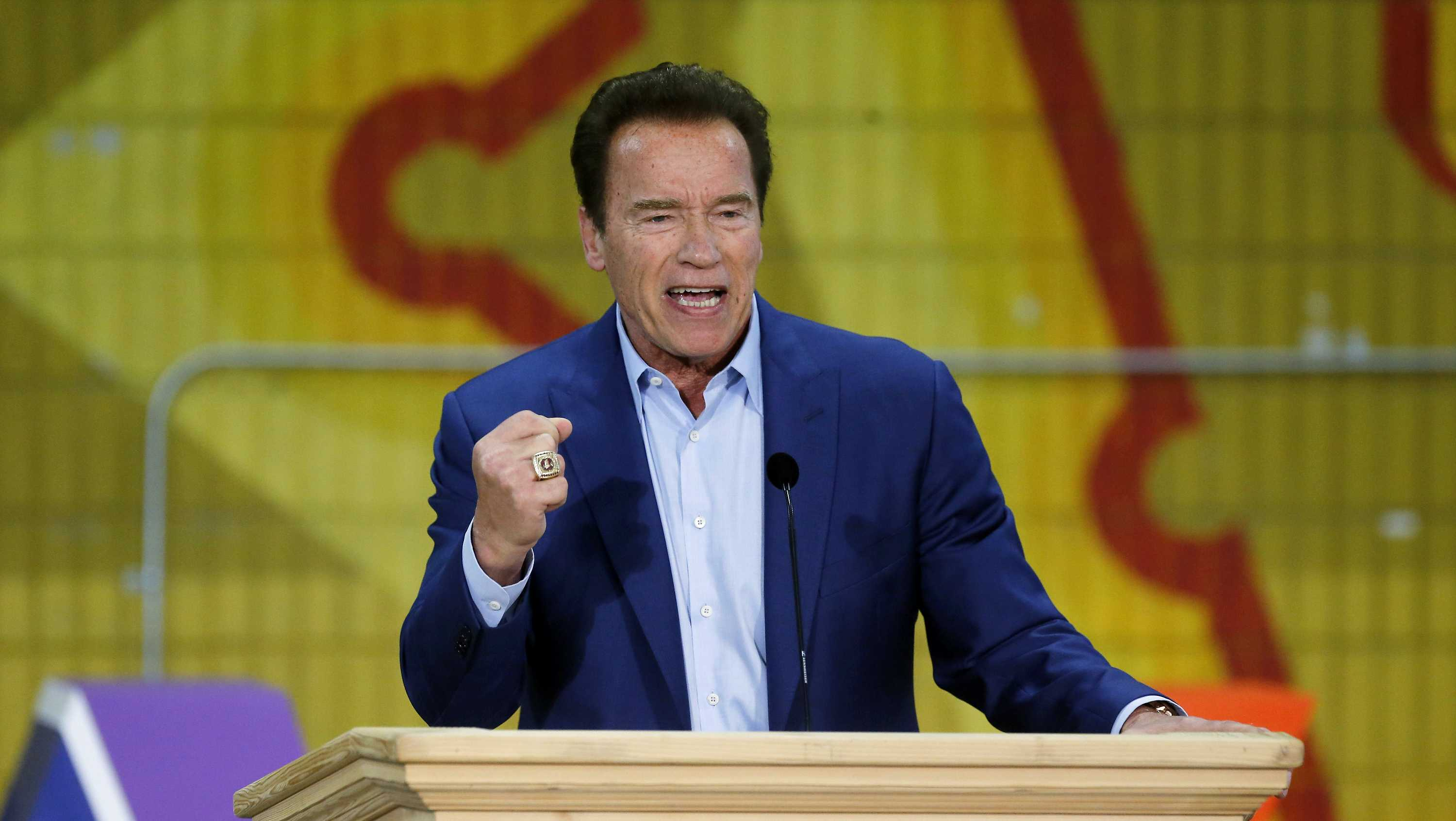 Former California Gov. Arnold Schwarzenegger speaks at the first New Way California Summit, a political committee eager to reshape the state GOP, at the Hollenbeck Youth Center in Los Angeles, Wednesday, March 21, 2018.
