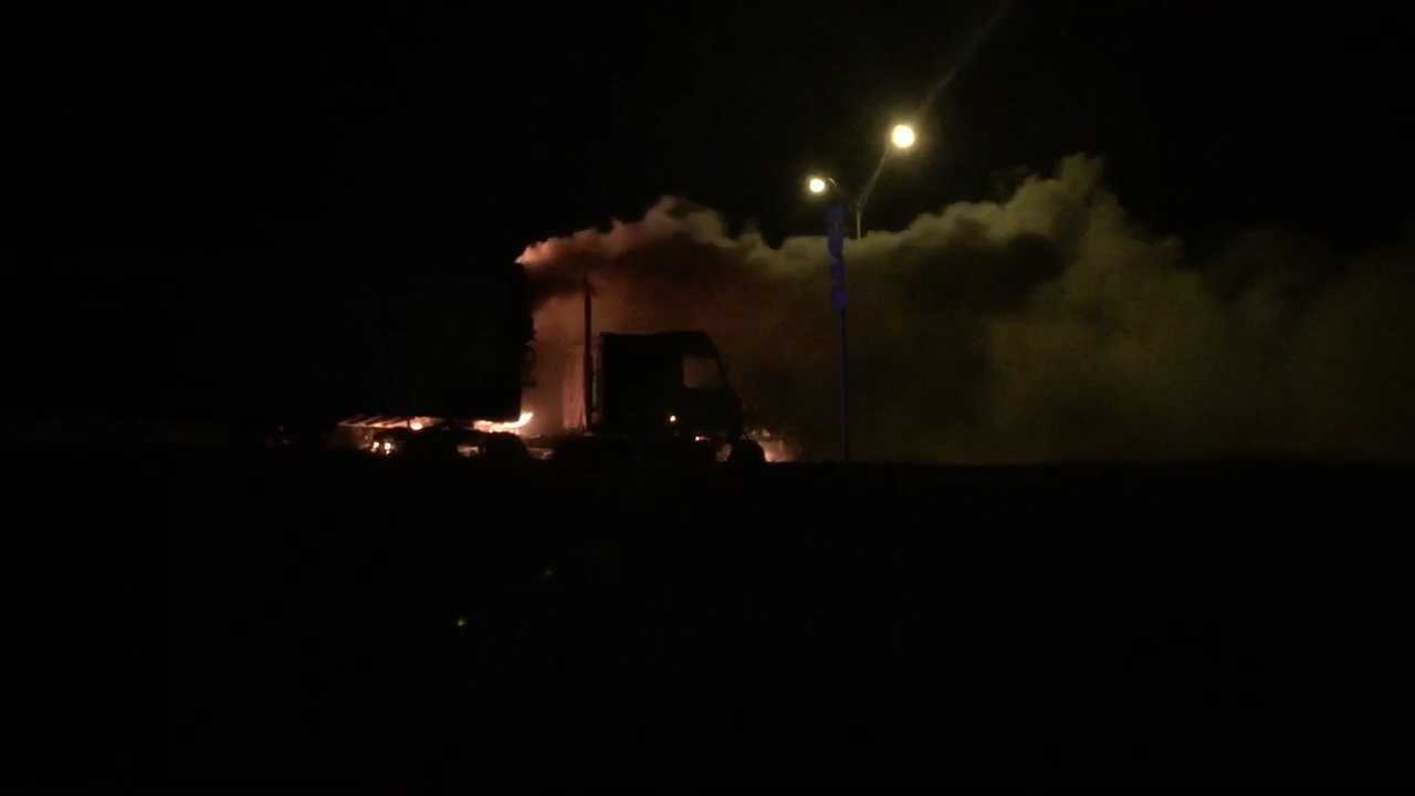 Semi-truck fire on I-35