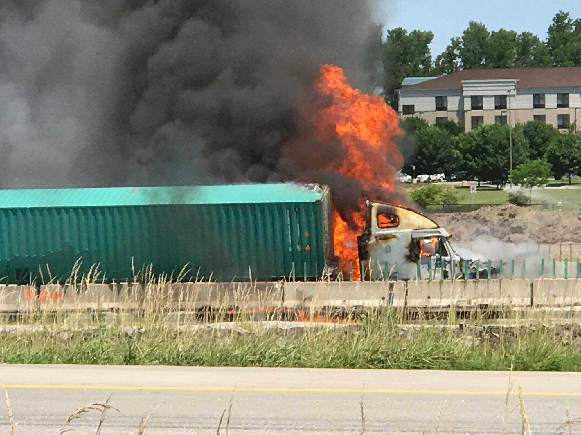 Semi-truck fire off EB Interstate 70 at York Street