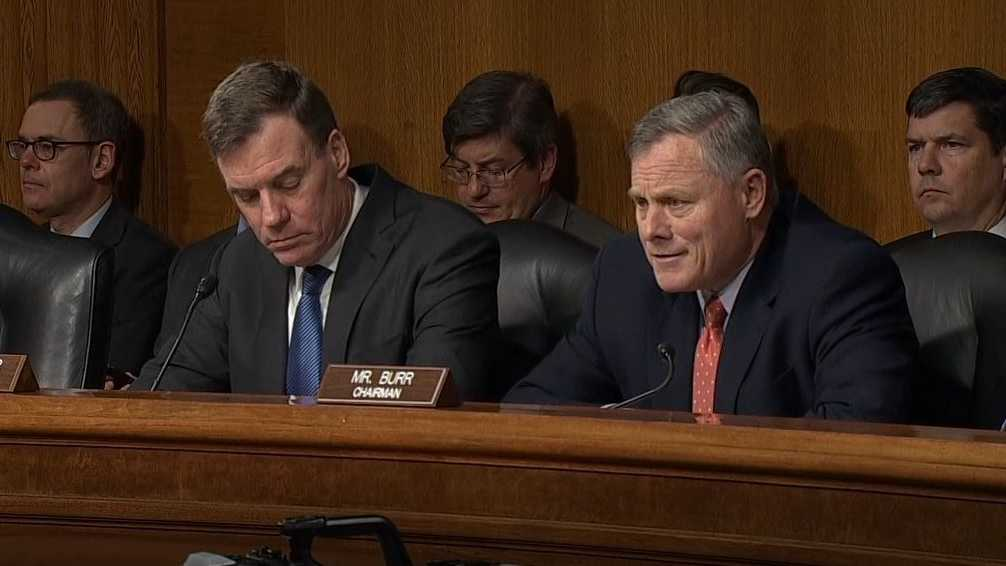 Senate Intel Committee Chairman Sen. Richard Burr (right) and Vice Chairman Sen. Mark Warner (left).