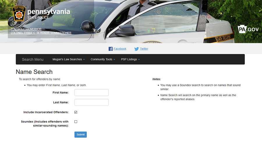 A screenshot of the search tool on the Pennsylvania Megan's Law website.