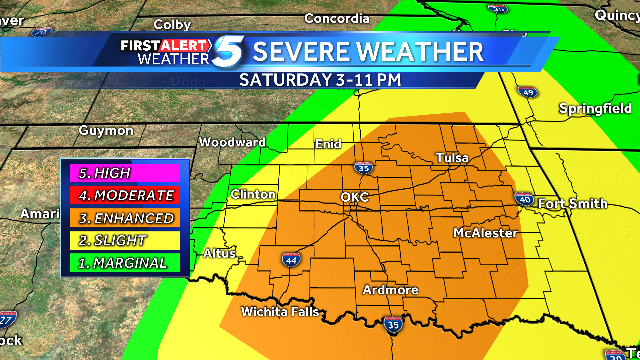Chance of severe weather for much of Oklahoma Saturday