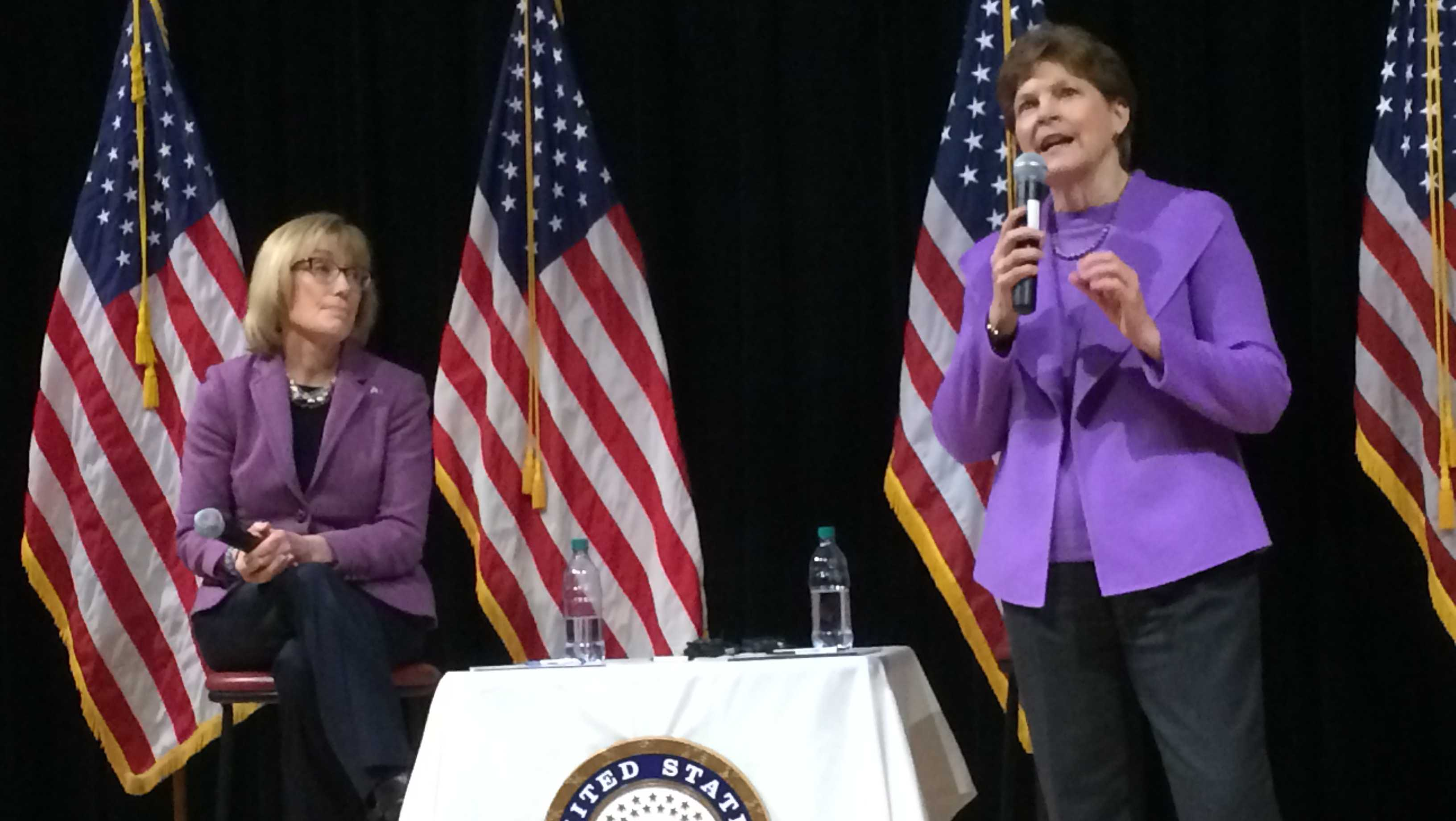 Sens. Maggie Hassan (left) and Jeanne Shaheen, seen at a February joint town hall in Concord, are among sponsors of a bill to streamline the Department of Veterans Affairs' disability claims appeals process