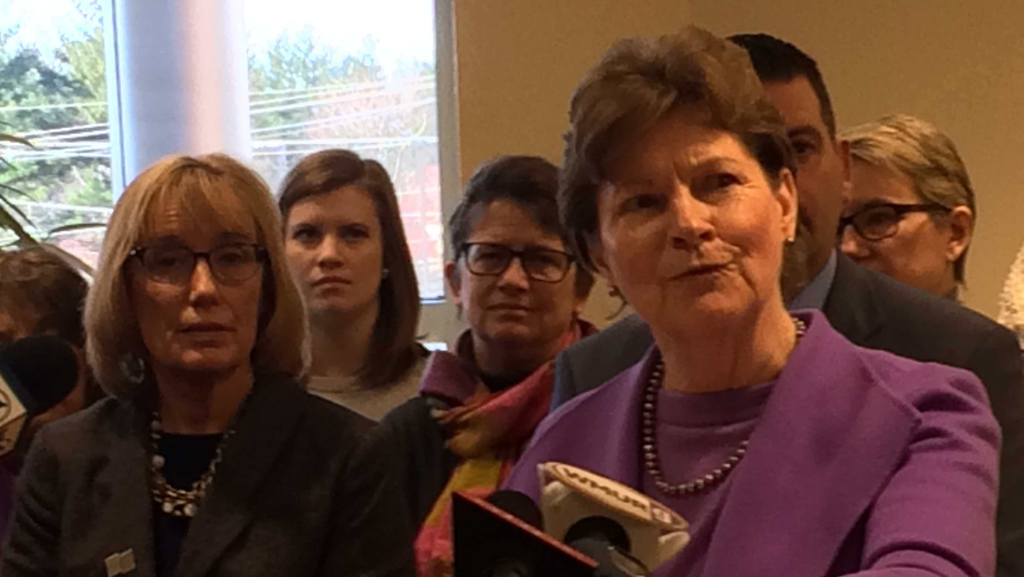 Sens. Maggie Hassan (left) and Jeanne Shaheen