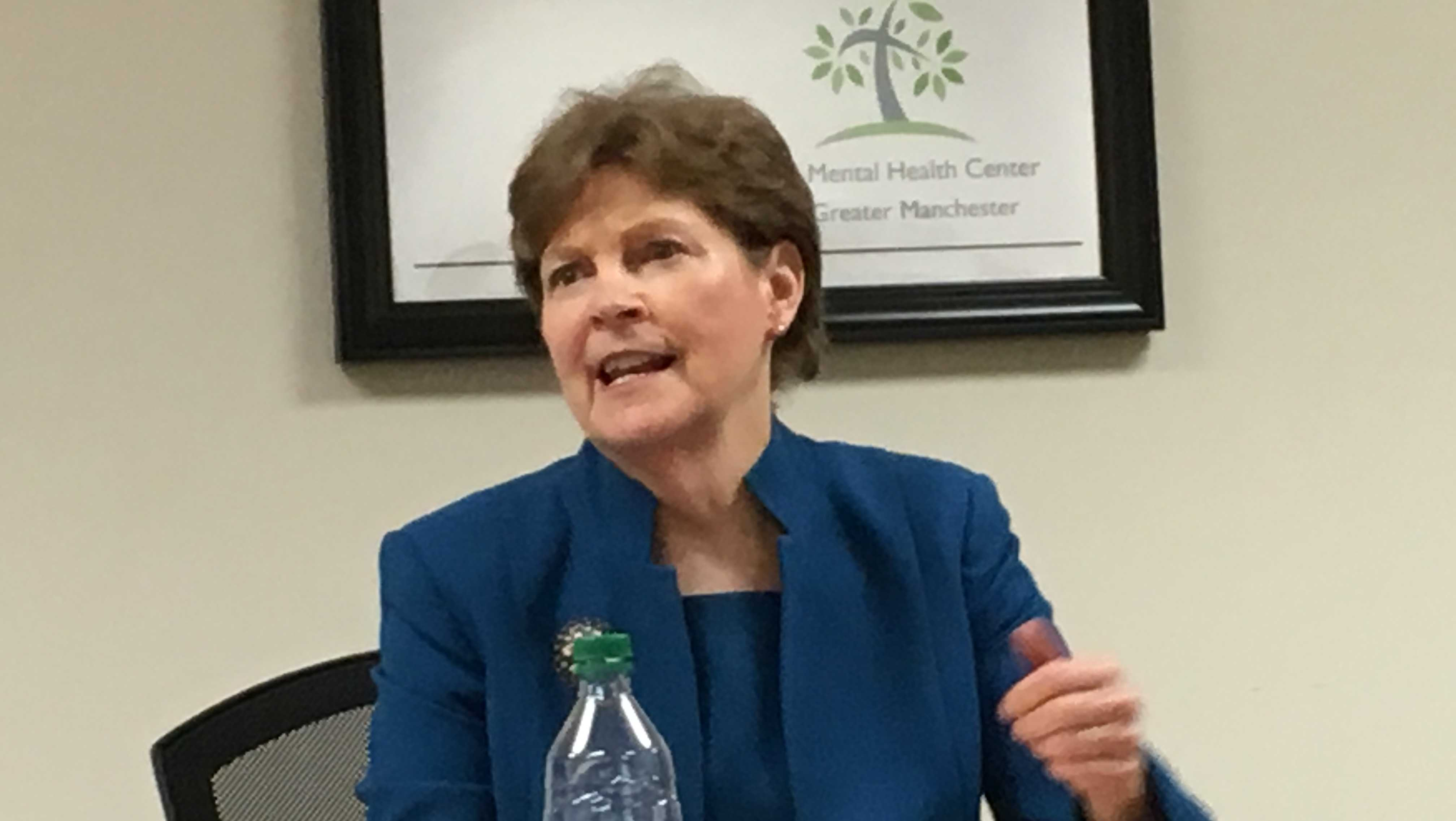 Sen. Jeanne Shaheen speaks with mental health experts in Manchester on Friday about the American Health Care Act