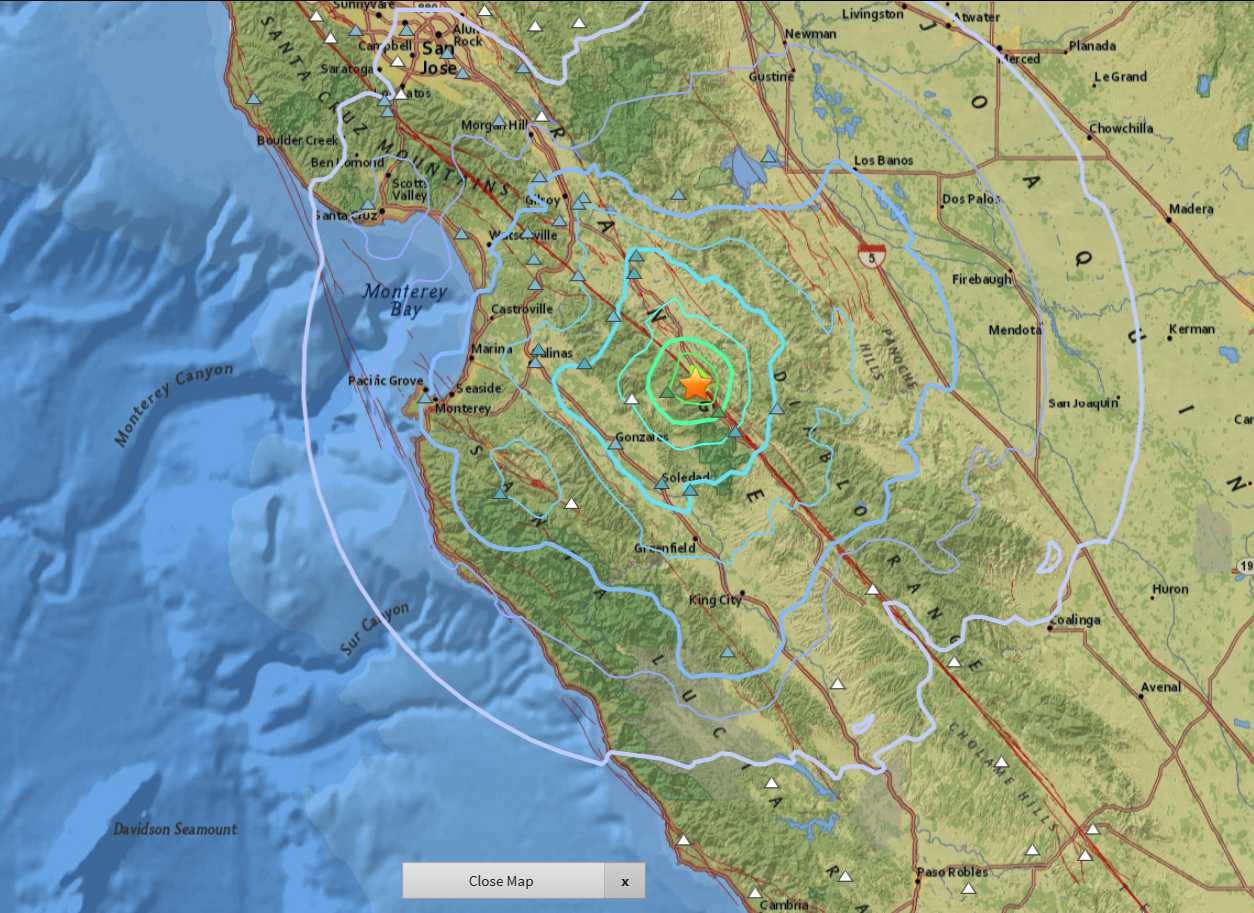 134 earthquakes in Monterey County since