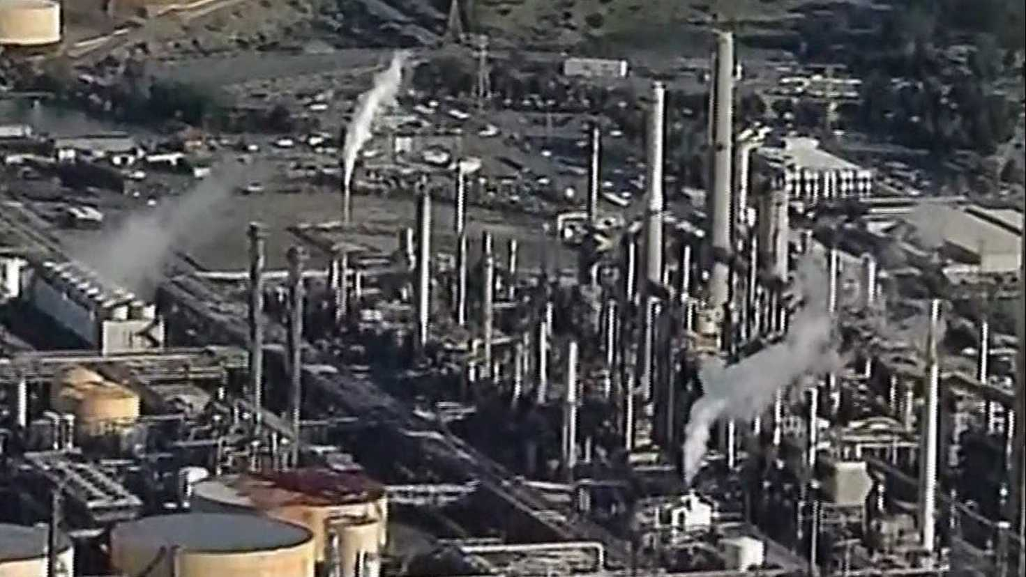 The Shell oil refinery in Martinez, California, was flaring after a power outage on Monday, Dec. 19, 2016.