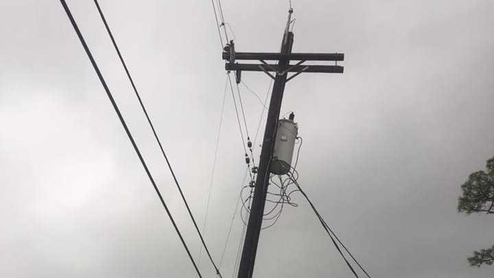 Power lines down residential area New Orleans east