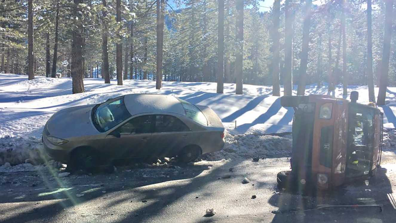 Five vehicles crashed Sunday, Feb. 26, 2017, on a South Lake Tahoe road due to slippery road conditions.