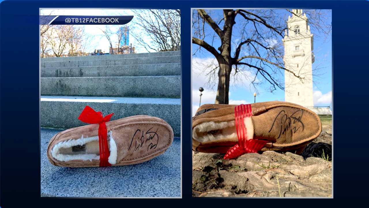 Tom Brady left signed Uggs around Boston for fans