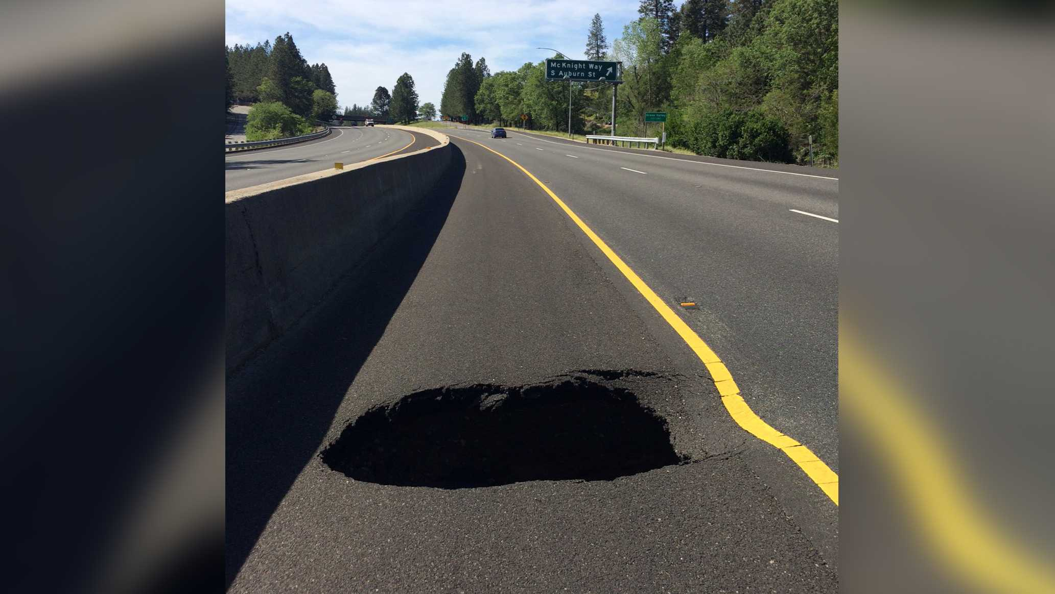A sinkhole opened up on northbound Highway 49 in Grass Valley, the California Highway Patrol said Thursday, May 4, 2017.
