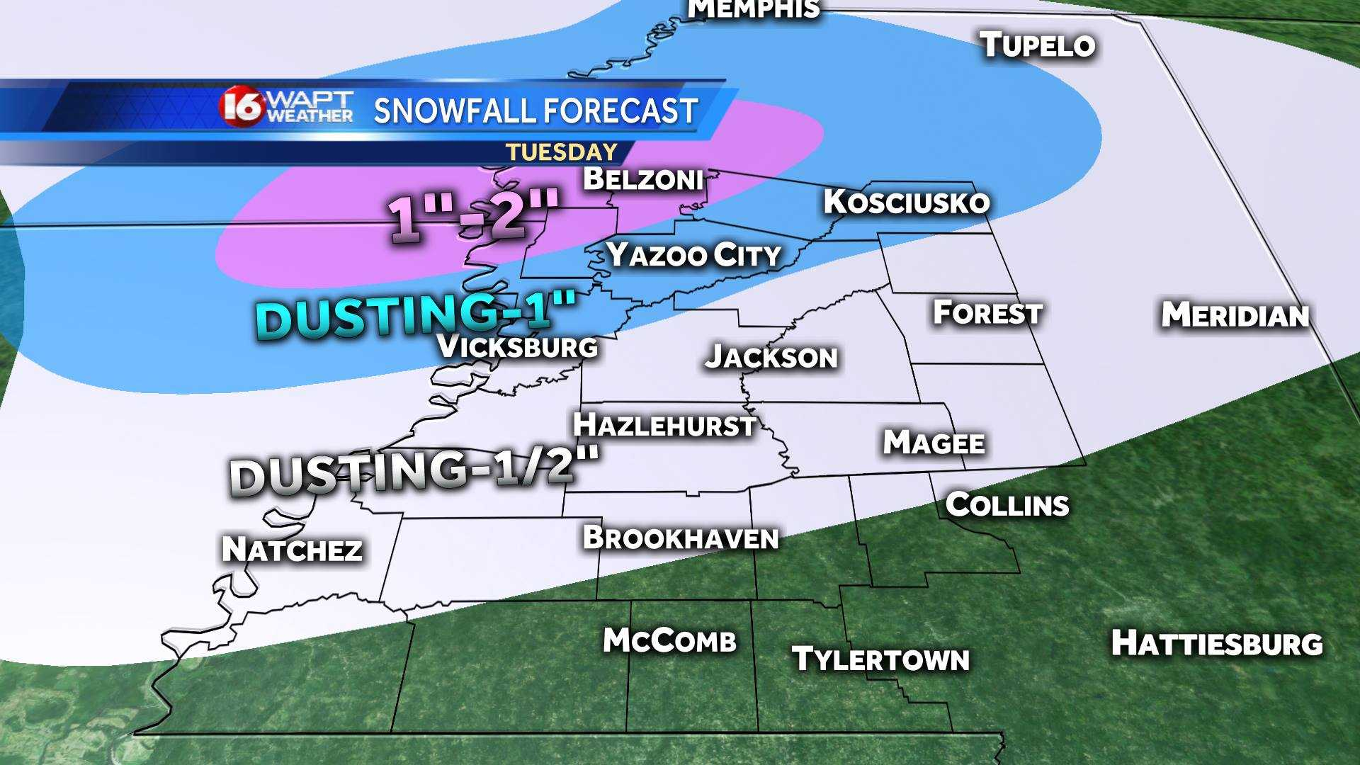 Snow chances trending lower for Wednesday