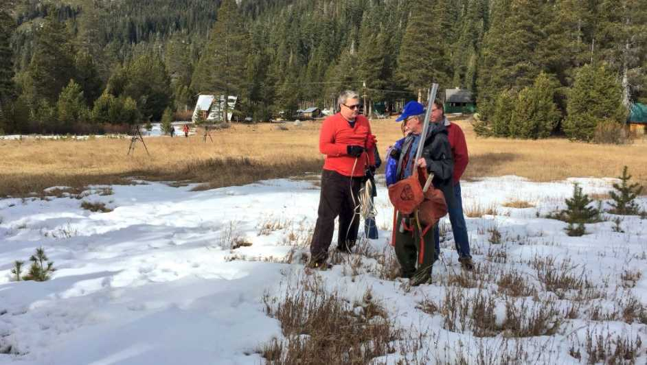California water officials measure the snowpack in the Northern Sierra on Jan. 3, 2018.