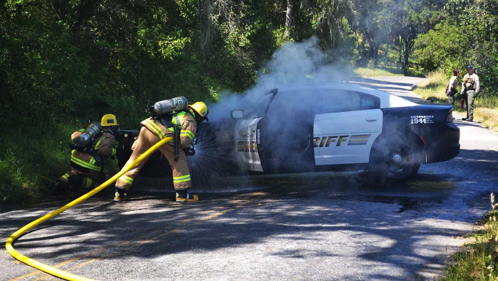 Patrol car on fire